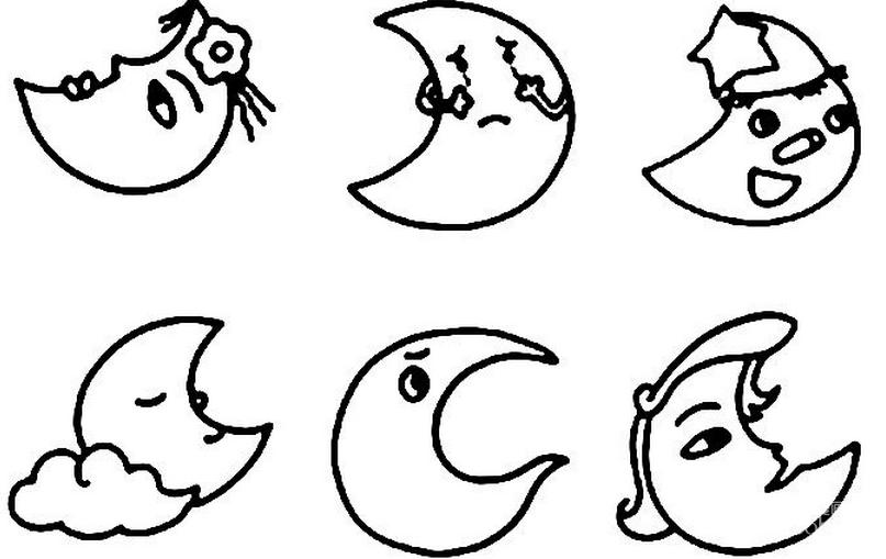 月球简笔画:月亮简笔画图片大全