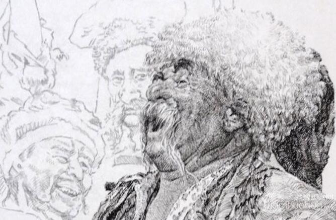 钢笔肖像画教程:用钢笔画人物肖像的名画临摹步骤