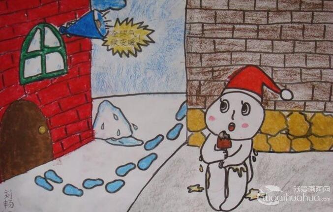 公益环保儿童画雪人图片:雪人怕全球变暖