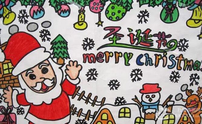 快乐的圣诞节儿童水彩画图片设计