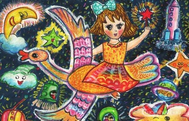 科技梦想画《遨游太空》10岁小学生科幻画作品-太空科幻画 我爱画画网图片