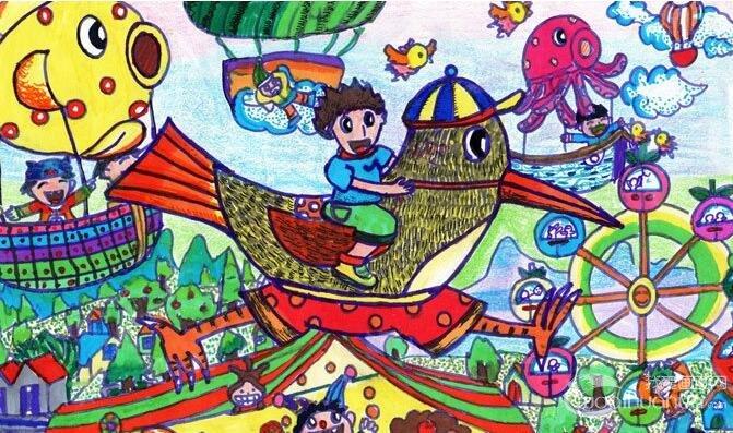 关于游乐场的儿童水彩画《快乐梦想大巡游》