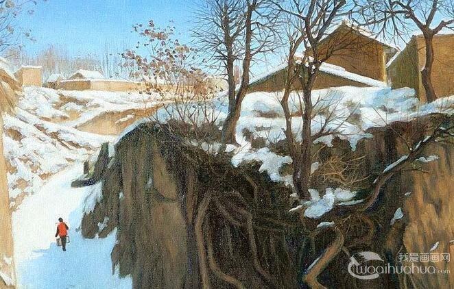 描写北方长白山雪景的油画风景两幅