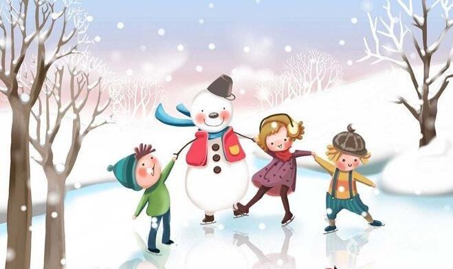 儿童画冬天的画画图片:有关冬天和堆雪人的儿童卡通画图片