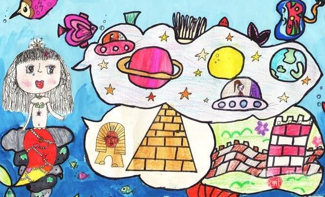 优秀完美的科幻画《美人鱼的梦》8岁儿童水彩画作品