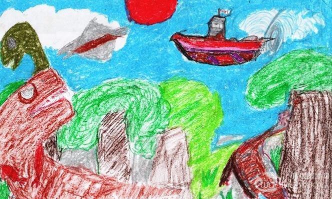 儿童穿越科幻画《重返三叠纪》13岁儿童蜡笔画作品