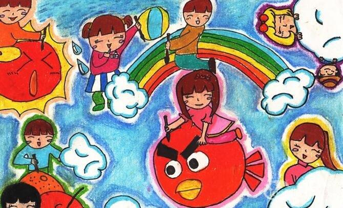 儿童科幻卡通画《梦想成真》8岁儿童水彩画作品