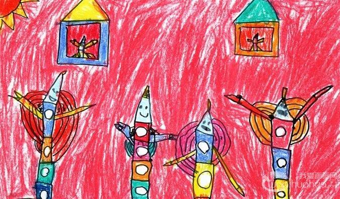 彩色铅笔卡通画《铅笔之歌》5岁儿童画