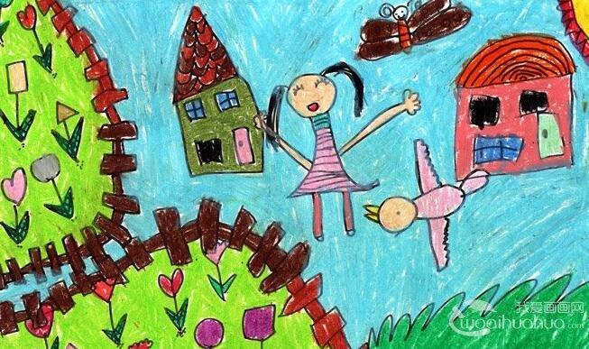 水彩环保科幻画《我的梦想家园》5岁儿童画