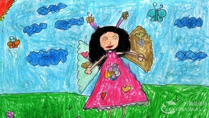 水彩人物卡通梦想画《快乐小仙女》5岁儿童画