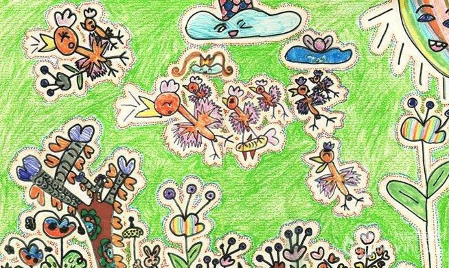 动物卡通画:快乐的节日--金鹰杯儿童画大赛参赛作品