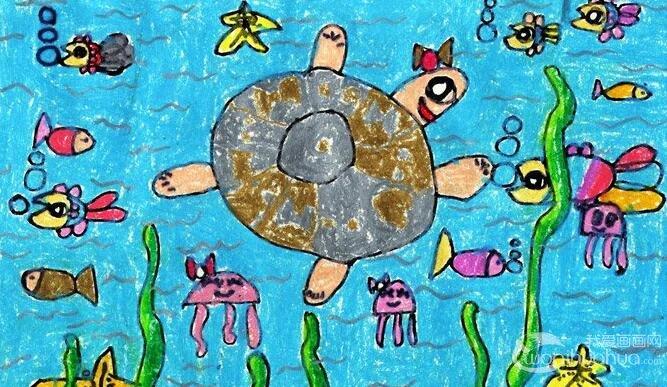 水粉人物画:水族馆--金鹰杯儿童画大赛参赛作品