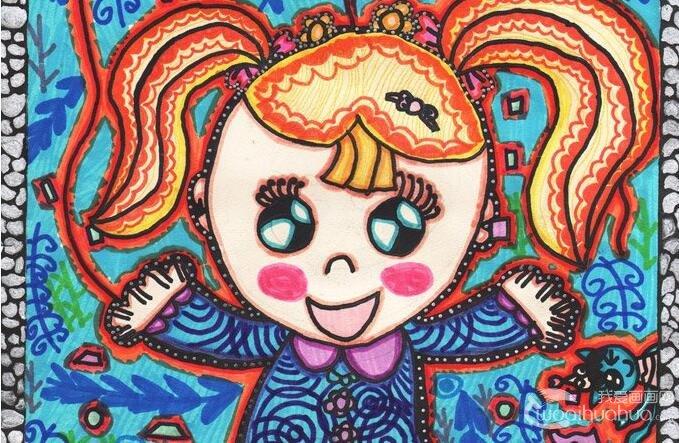 人物水彩卡通画:梦中的蛋糕娃娃--金鹰杯儿童画大赛参赛作品