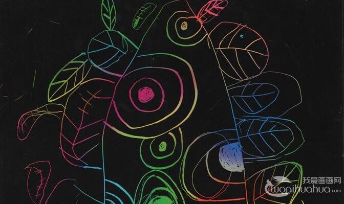彩色线描简笔画:小怪树(奇怪的树木)--金鹰杯儿童画大赛参赛作