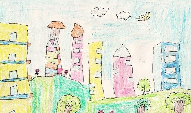 油画棒环保画:绿色家园--金鹰杯儿童画大赛参赛作品