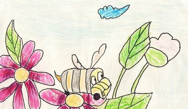 卡通花鸟画:开往春天的小车--金鹰杯儿童画大赛参赛作品