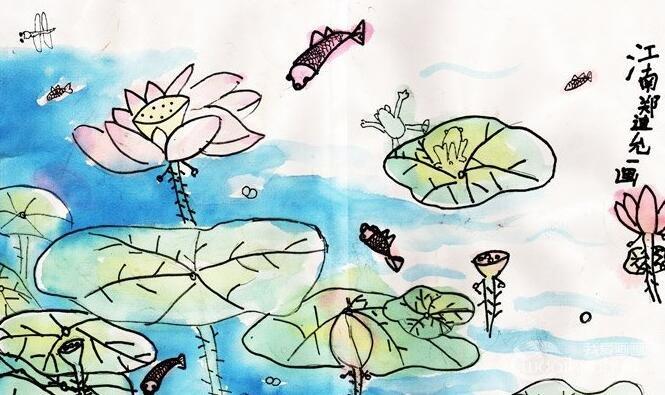 儿童水彩花鸟画:江南(热闹的荷塘)--金鹰杯儿童画大赛参赛作品