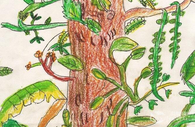 油画棒作品:美丽树藤--金鹰杯儿童画大赛参赛作品