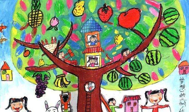 儿童科幻画:梦想中的 大树 乐园--金鹰杯 儿童画 大赛图片