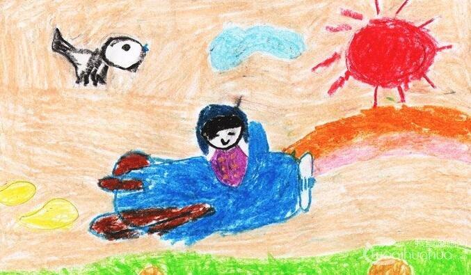 """科幻画:开着飞机去巡游--2012""""金鹰杯""""儿童画大赛参赛作品"""