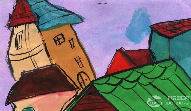 """水粉画风景:乡村小院--2012""""金鹰杯""""儿童画大赛参赛作品"""