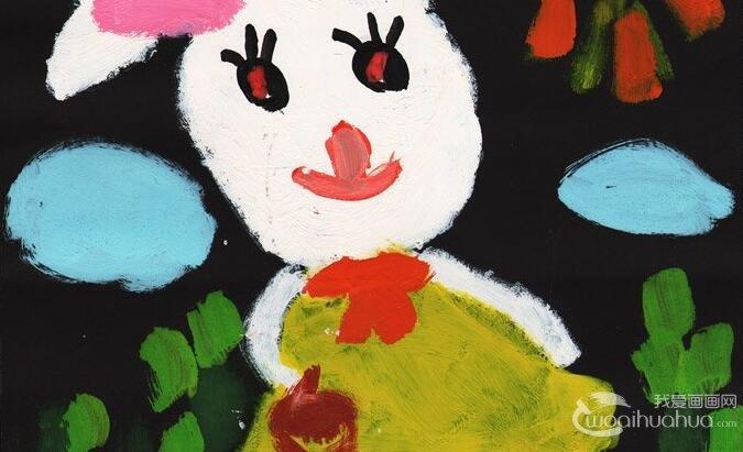 """水粉画动物:小兔乖乖--2012""""金鹰杯""""儿童画大赛参赛作品选登"""