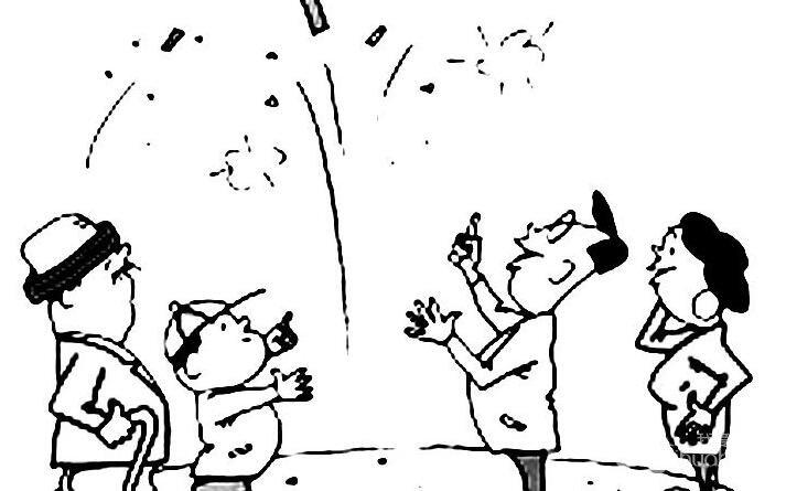 放鞭炮简笔画图片大全:新年儿童简笔画鞭炮