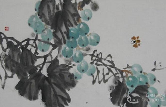 国画写意葡萄教程:葡萄的果实,叶子,藤条的画法