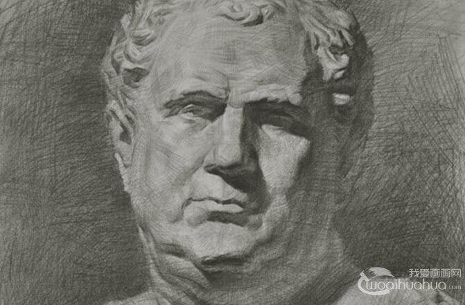 素描石膏像写生教程:罗马王石膏像素描绘画全过程