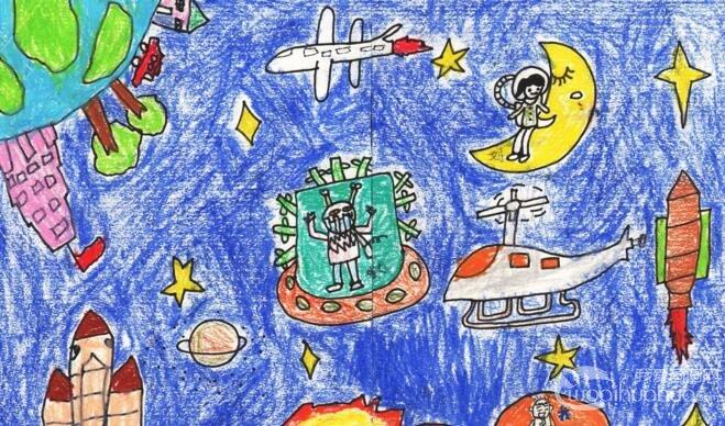 油画棒科幻画:太空遨游--金鹰杯儿童画大赛参赛作品