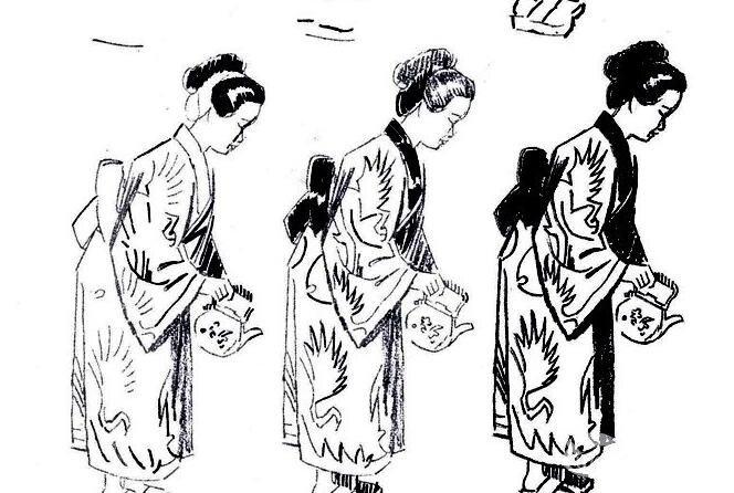 人物速写教程:日本女人躬身倒茶速写步骤
