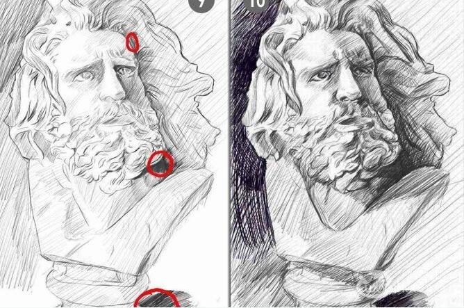 马赛石膏像素描写生教程:素描石膏像马赛绘画步骤