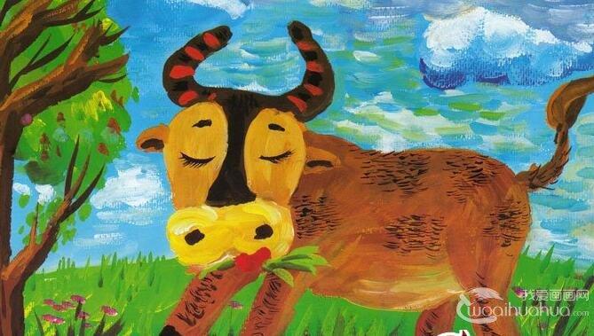 黄牛水粉画教程:黄牛吃草儿童水粉画作画图文步骤