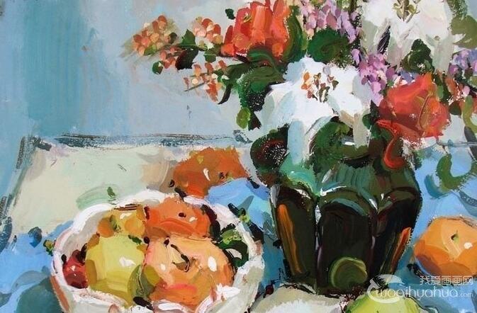 花卉水粉画:一组逼真花卉花瓶静物水粉画欣赏