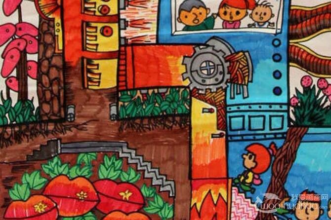 小学生节能环保科幻画获奖作品:地热能生态工厂