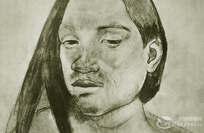 高更素描作品欣赏:高更的人物素描和速写高清大图