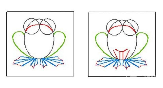 青蛙简笔画画法,儿童简笔画青蛙教程和上色步骤