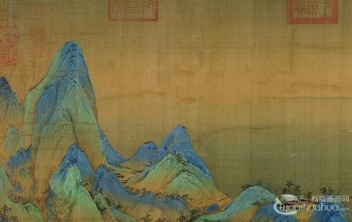 王希孟《千里江山图》_气势雄伟壮丽青绿山水画全卷高清大图