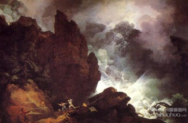 《阿尔卑斯山的雪崩》气势恢宏的写实风景油画赏析