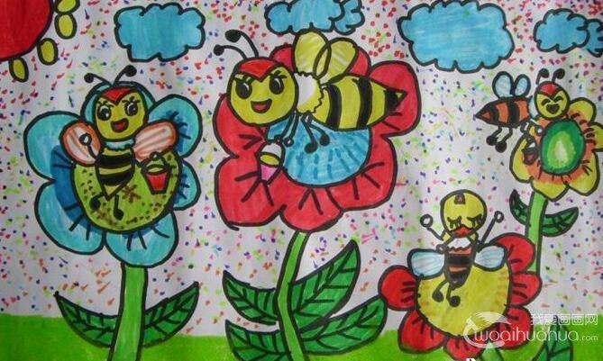 可爱的小蜜蜂儿童水彩画高清图片