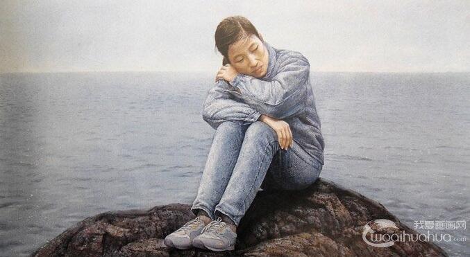 逼真的人物水彩画艺术:坐在礁石上沉思的女孩