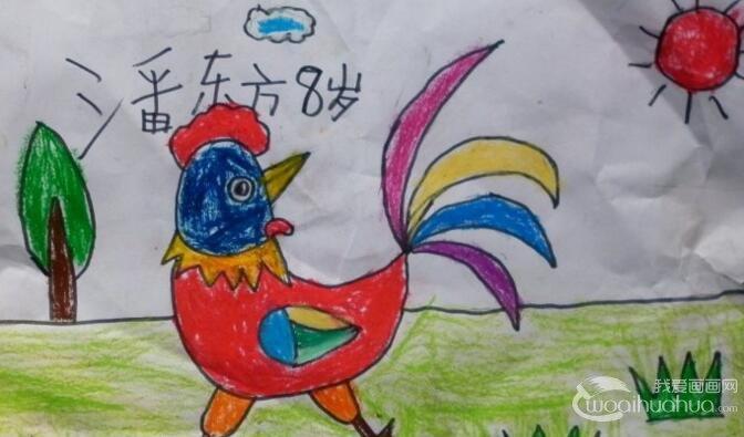大公鸡儿童画:大公鸡简笔画油画棒填色作品12副