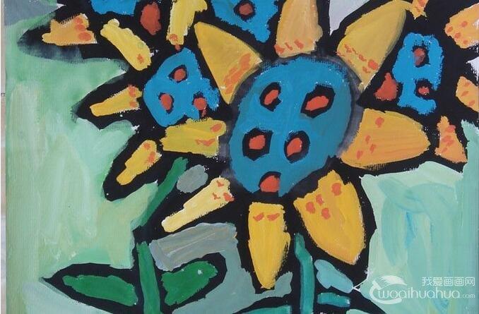 向日葵儿童水粉画:幼儿园小朋友画的向日葵水粉画