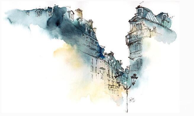 水彩画的材质美感之一:水彩画水分的运用