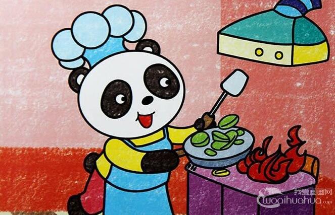 5副熊猫儿童卡通画欣赏,完美的儿童画熊猫图片