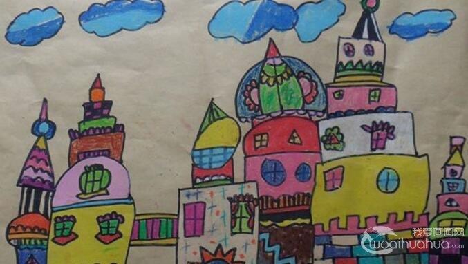 儿童彩色铅笔画城堡,关于城堡的儿童画欣赏