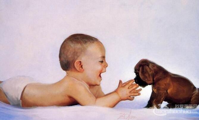 水彩画宝宝与狗狗:法国画家DonaldZolan水彩画作品欣赏