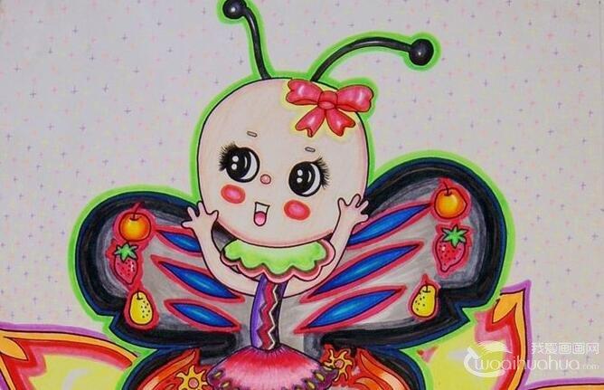 儿童水粉优秀作品:在荷花上跳舞的蝴蝶水粉画
