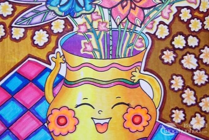 非常工整的儿童水粉作品:插满鲜花的花瓶水粉画