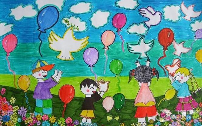 儿童水彩画欣赏:蓝天下放飞和平白鸽